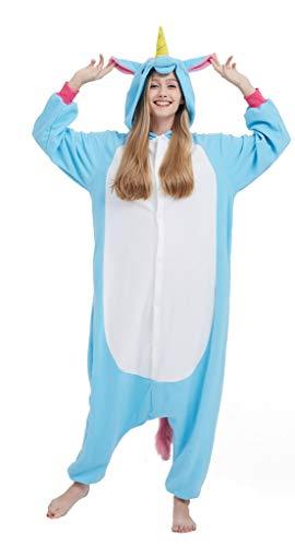 SAMGU Einhorn Adult Pyjama Cosplay Tier Onesie Body Nachtwäsche Kleid Overall Animal Sleepwear Erwachsene Jumpsuit Costume Blau L