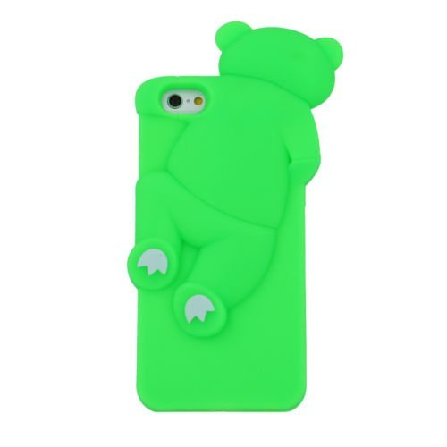 "BACK CASE 3D TEDDYBÄR 2 für Apple iPhone 6 4,7"" Apple iPhone 6S Hülle Cover Case Schutzhülle Tasche Teddy (rosa) grün"