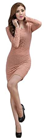 Demarkt New Women's Chic One-piece Design Long Sleeves Dress Round Neck Soft Wave Pleated OL Mini Dress Cocktail Club Party Costume Wear Above Knees Light Pink Size XX-Large