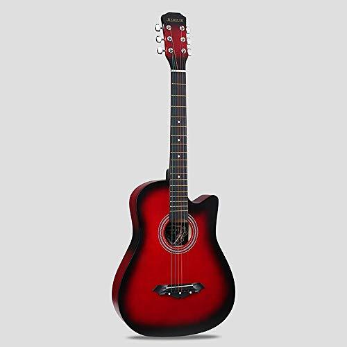 k-Akustikgitarre Hochwertige Buche Anfänger üben Young Boys Girls Gitarre mit Bag Strap String Tuner Capo Poliertuch ( Color : Red ) ()