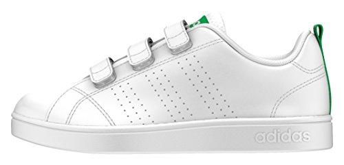 adidas Vs ADV Cl Cmf C, Scarpe da Fitness Unisex-Bambini, Bianco Ftwwht/Green, 29 EU