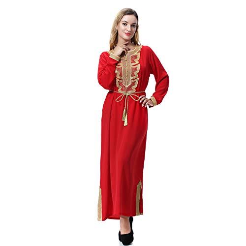 Mitlfuny Indian Muslim Islamic Arab Abaya Jilbab Middle Eastern Ramadan,Muslimische Arabische Mittlere Osten - Damen Schnür-Lätzchen mit Langen Ärmeln und ()