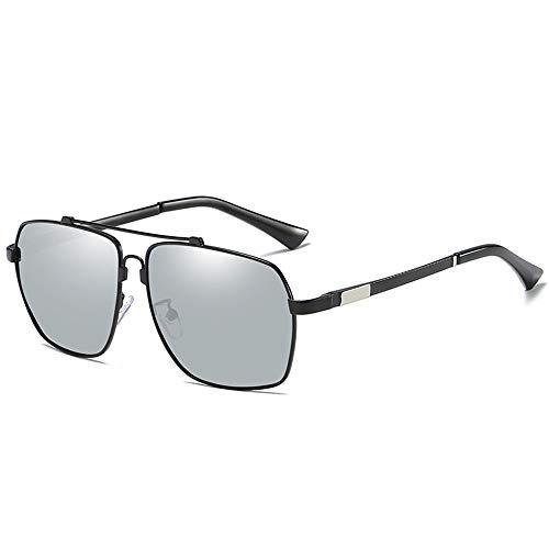 WULE-RYP Polarisierte Sonnenbrille mit UV-Schutz Men's Casual Fashion Metal Square Brillen, polarisierte Sonnenbrillen. Superleichtes Rahmen-Fischen, das Golf fährt (Farbe : Black Frame/Silver)