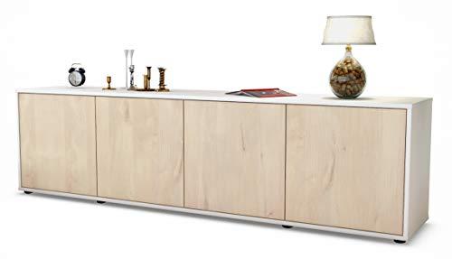 Stil.Zeit TV Schrank Lowboard Antonia, Korpus in Weiss Matt/Front im Holz-Design Zeder (180x49x35cm), mit Push-to-Open Technik, Made in Germany