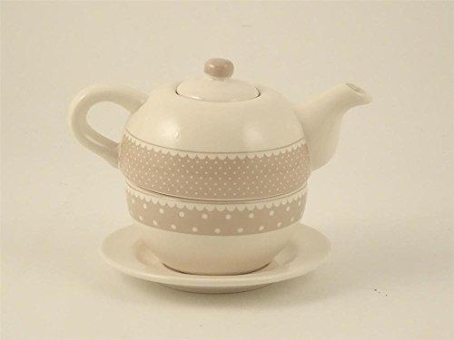 Teiera in ceramica bianca e grigia a pois bianchi,