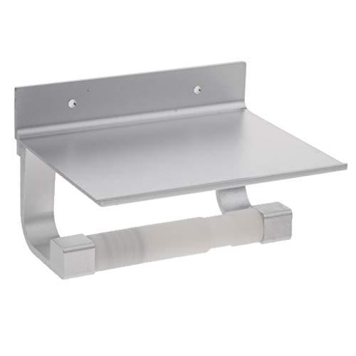 MagiDeal Edelstahl WC Papier Halter Toilettenpapierhalter Klopapierhalter Rollenhalter Ohne Bohren mit Ablage - Silber -