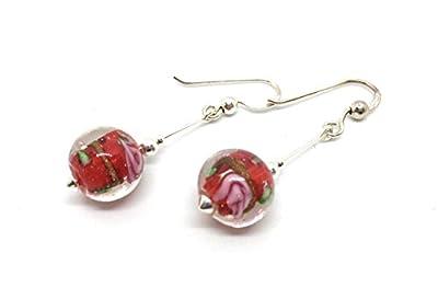Boucles d'oreilles en argent et crystal artisanat