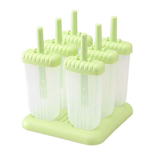 6 einfach zu lösende Popsicle-Formen mit Stöcken und Tropfschutzgriff, Silikon, stabile Standfuß ()
