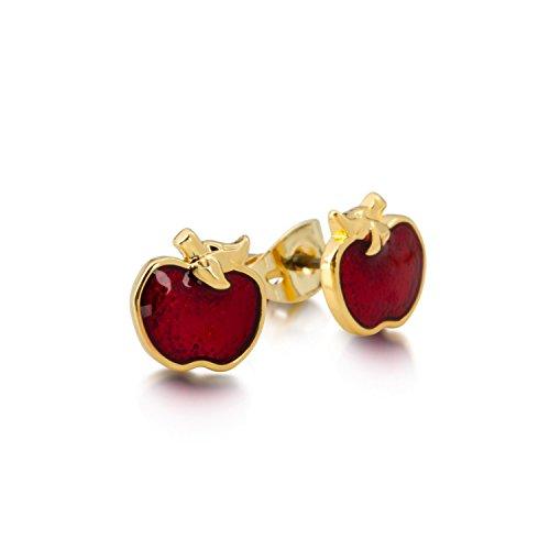 Disney Couture oro esmalte rojo veneno Apple Stud Pendientes