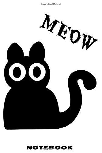 MEOW Notebook: Liniertes Notizbuch mit schräger Katze Design für Männer und Frauen (Mann Katze Halloween)
