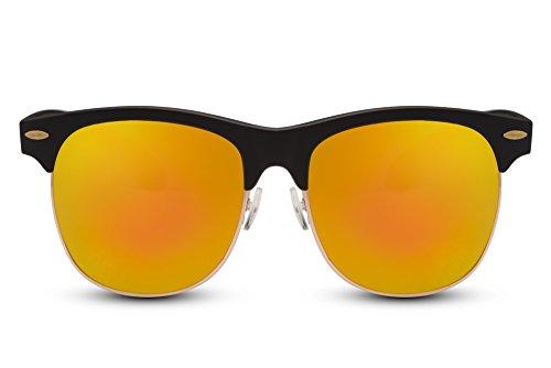 (Cheapass Sonnenbrille Clubmaster Schwarz Verspiegelt UV-400 Retro Unisex)