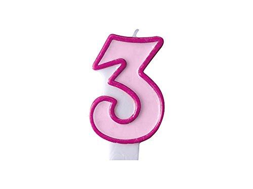 Geburtstags- Kerze Zahl 3 rosa Mädchen