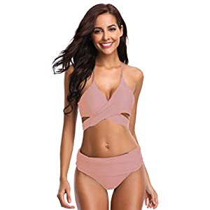 SHEKINI Damen Dunkle Farbe Geteilter Badeanzug Push up Bikini Set Neckholder Bikini Oberteil Mit High Waist Bikini Bottom Damen Badeanzug Sport Zweiteiliger Badeanzug