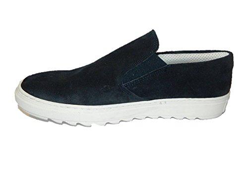 Mocassino scarpe uomo pelle blu sportive casual made in Italy (44)