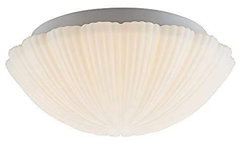 Stylish Ribbed Opal White Glass IP44 LED Powered Bathroom Ceiling Light Fitting by Haysom Interiors