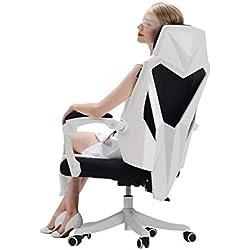 Afanyu Chaise de bureau ergonomique, avec accoudoirs et fauteuil d'ordinateur avec appui-tête, réglable en hauteur, idéale pour les journées de travail/jeu/pause (noir, blanc),blanc,A