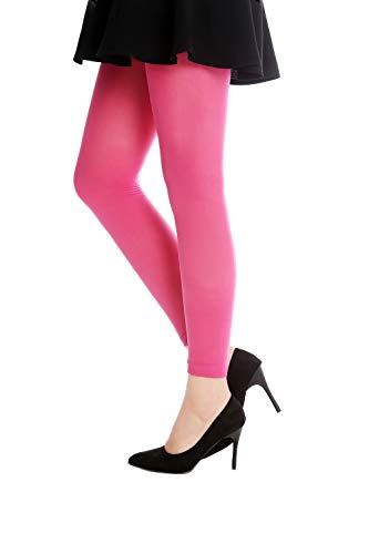 -PINK Strumpfhose Leggings Pantyhose Damenkostüm Party Karneval Halloween Blickdicht rosa pink dunkelrosa S/M ()