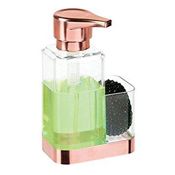 mDesign Dosificador de jabón con soporte para esponja – Dispensador de jabón de manos para fregaderos – Dispensador de jabón en espuma de plástico y recargable – transparente/cobre