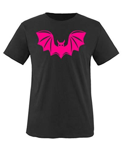 Comedy Shirts - Halloween Fledermaus - Mädchen T-Shirt - Schwarz/Pink Gr. 152-164
