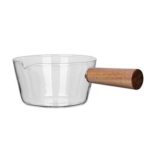 Casserole à lait en verre borosilicate - Pot à aliments pour bébés, 400 ml / 600 ml, bol à salade de fruits transparent avec poignées en bois