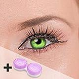 Farbige Kontaktlinsen'cool green' 2x grüne Kontaktlinsen ohne Stärke + gratis Kontaktlinsenbehälter