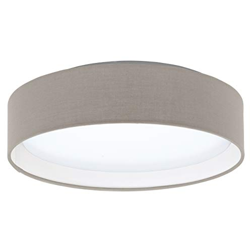 EGLO LED Deckenlampe Pasteri, 1 flammige Textil Deckenleuchte, Material: Stahl, Stoff, Kunststoff, Farbe: Taupe, weiß, Ø: 32 cm