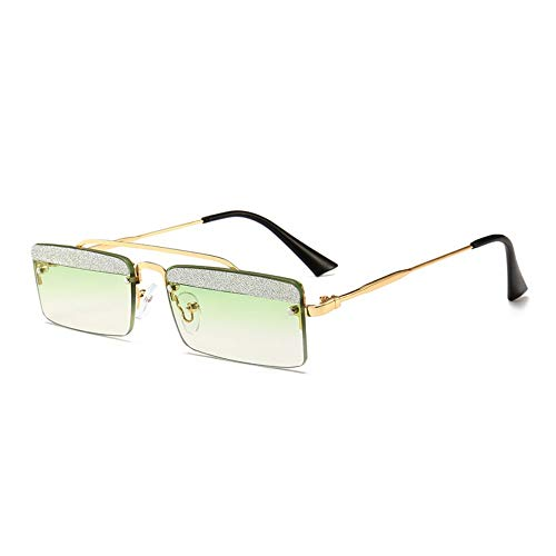 MJDABAOFA Sonnenbrillen,Kleines Quadrat Retro Sonnenbrillen Für Frauen Gold Frame Grüne Linse Two-Tone Shining Gradient Objektiv Sonnenbrillen Für Männer