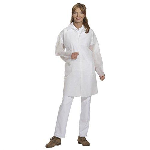 Preisvergleich Produktbild Kittel Arbeitskittel Einmalkittel Pflegekittel Einwegkittel - Größe L - weiß