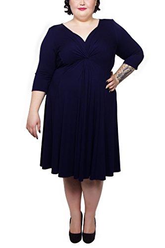 Scarlett & Jo - Robe - Manches 3/4 - Femme Noir Noir Noir - Bleu nuit