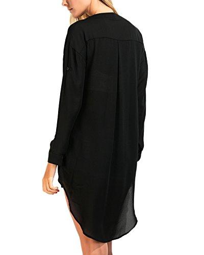 Auxo Damen Unregelmäßig V-Ausschnitt Chiffon Langarm Party T-Shirt Langshirt Tops Schwarz