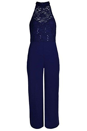 Fashion Star Damen Jumpsuit *, blau (Plus Size Floral Romper)