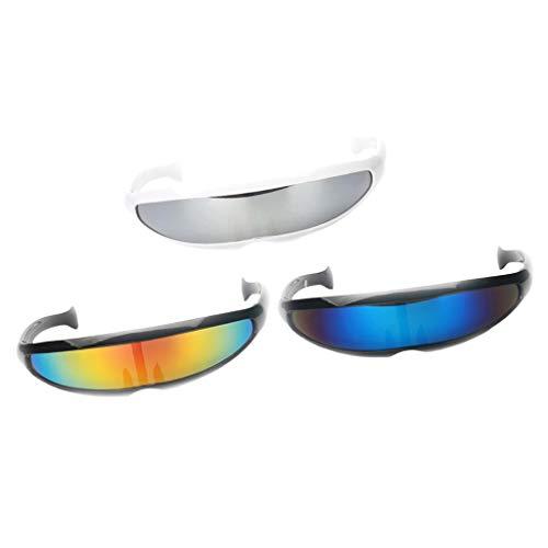 Kostüm Party Zukunft - D DOLITY 3er Set Futuristische Cyclops Sonnenbrille verspiegelte Brille für Kostüm Party Club Tanz Props