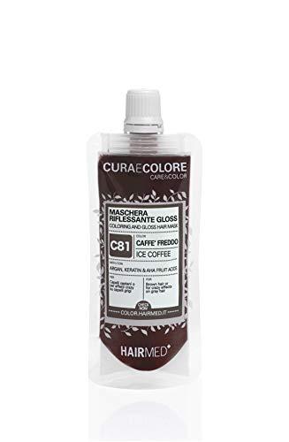 HAIRMED - Cura e Colore - Maschera Riflessante Capelli - Bagno di Colore Senza Ammoniaca - Gloss C81 - Caffè Freddo - 40 ml