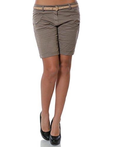 Damen Shorts Chino Kurze Hose inkl. Gürtel (weitere Farben) No 13908, Farbe:Khaki;Größe:36 / S