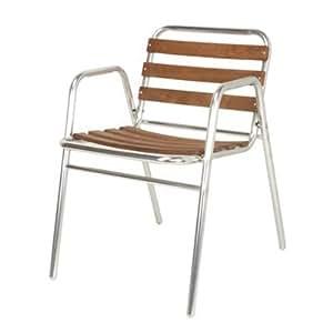 ilineo fauteuil terrasse jardin chaise aluminium et bois exotique avec accoudoirs 7 lattes. Black Bedroom Furniture Sets. Home Design Ideas