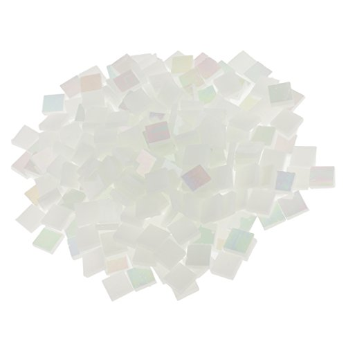 MagiDeal 250 Pieces Square Vitreous Glass Mosaic Tiles Pieces Tessara for DIY Art Crafts Supplies 10x10mm - Bright white