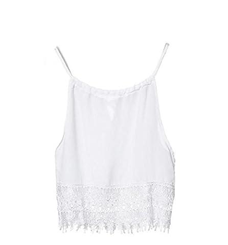 LONUPAZZ Femmes Débardeurs Soutien-gorge bretelle Dentelle chemise blouse sans manches tops veste tank tops (L,
