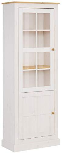Loft 24 A/S Vitrine Kiefer Massivholz Landhausstil Standvitrine Schrank mit Glastür 1 Tür 64 x 33 x 175 cm(weiß & gebeizt geölt)