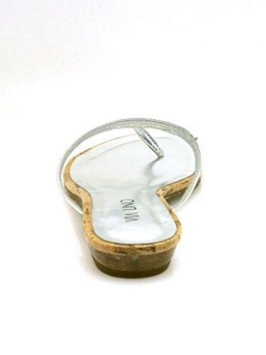 Via Une Pantoufle De Peau Flip Flop Chaussures De Plage 20719601 Élégant Argent (argent)