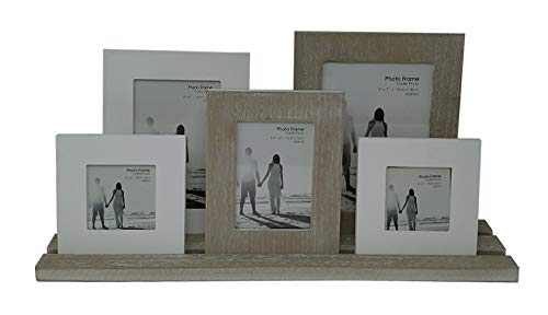Rustic 5 Wooden Photo Frames On Tray ~ Finished In A Distressed Lime Washed Style by Carousel Home Carousel Tray