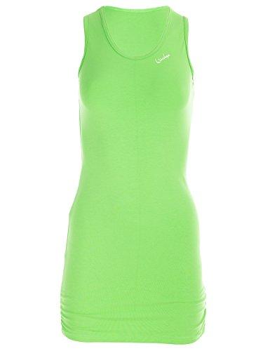 Winshape Damen Fitness Freizeit WTR15 mit Seitlicher Raffung Slim Style Longtop, Apfelgrün, M (Zumba Tops Für Damen Grün)