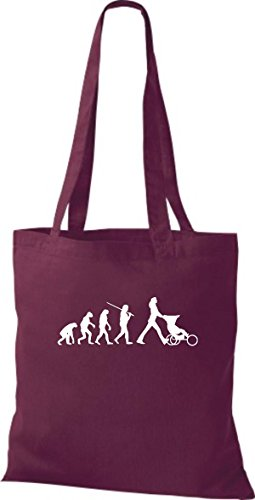 ShirtInStyle Stoffbeutel Jute Evolution Mutter Kinderwagen diverse Farbe weinrot