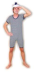 Preisvergleich Produktbild Badeanzug blau weiß geringelt Gr. XL Einteiler