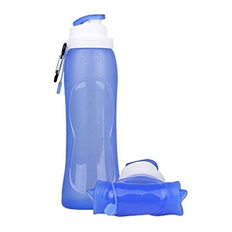 Outdoor Flasche , Chickwin BPA-frei Portable Silicone Klappbar Sport Outdoor Flasche (Blau)
