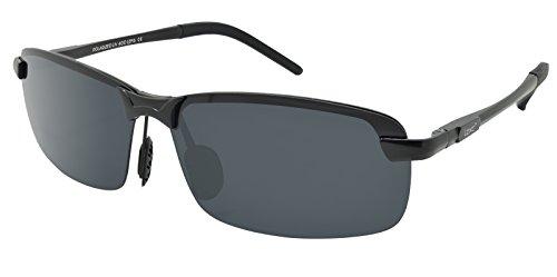 LZXC Polarisierte Fahren Sonnenbrillen Sport im Freien Eyewear Unzerbrechlich Spring Scharnier Ultra-light AL-MG Schwarzer Rahmen Schwarzes Objektiv für Männer