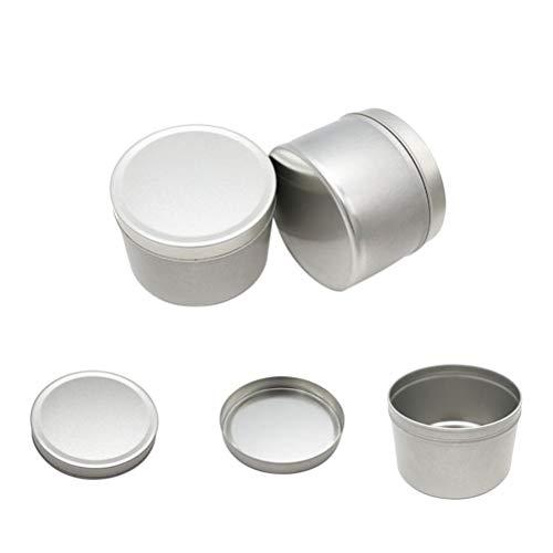BESTONZON 5 stücke Runde Metalldosen mit Deckel Kerzenformen Metall Vorratsbehälter Boxen für Tee Süßigkeiten Balsam Schätze Geschenke (Silber) -