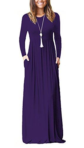 Casual Maxikleid Langarm Elegant Maxi Kleider Damen Lang Kleid Hochzeit mit Taschen Violett 2XL