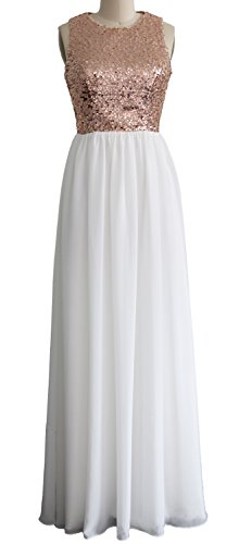 MACloth Women O Neck Sequin Chiffon Long Bridesmaid Dress Formal Evening Gown Rose Gold-Ivory