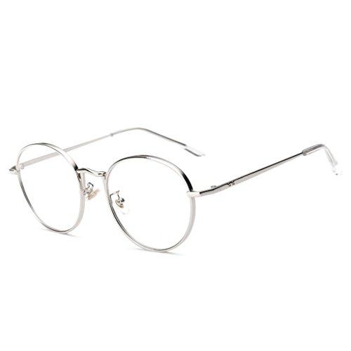 Gazechimp Klassische Vintage runde Metall Brille Damen Herren Brillenfassung - Silber, one size