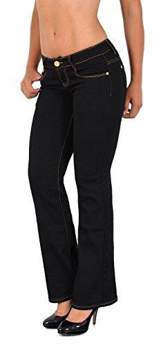 ESRA Damen Jeans Damen Bootcut Jeanshose Schlaghose Hüftjeans Hüfthose in aktuellen Designs AA